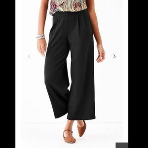 Pleated wide leg cropped pants NWT